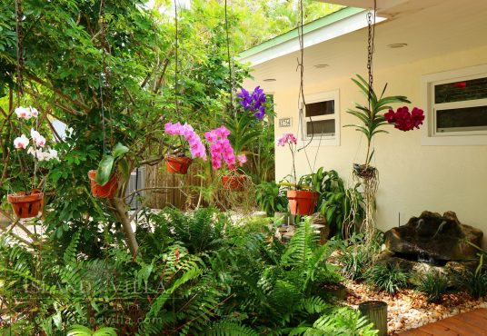 beautiful orchids hang in the front entrance of osprey bay rental home