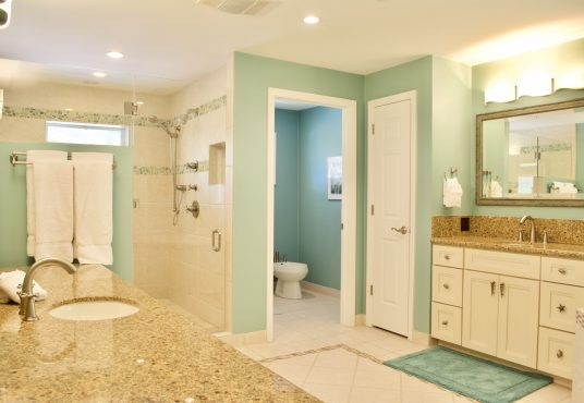 large master bathroom with his and hers sinks