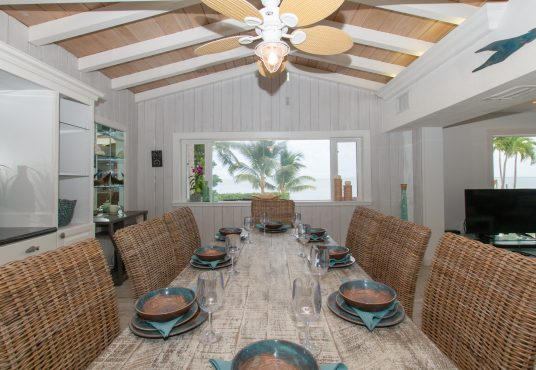 large dinning room table with ocean views
