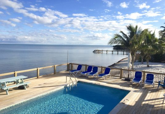 waterfront pool deck over looking the Atlantic ocean and alligator reef lighthouse
